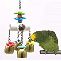 MJEMS Bird Parrot Toys Stainless Steel Bell Bird Toys 4 Ring Bell Cage Parrot Toys Chew Toy Hanging Bell Birds Cage with…