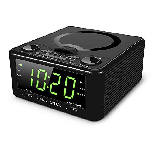 Hannlomax HX-300CD CD Clock Radio, PLL FM Radio, 1.2 Digital Clock, Dual Alarm, USB Ports for 2.1A & 1.2A Charging, Aux-in