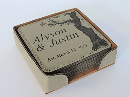 Personalized Coasters for Wedding Anniversary Gift, Set of 6 Leather Coasters With Holder