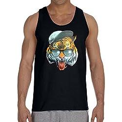 Men's Fresh Snapback Tiger Black Tank Top 3X-Large Black