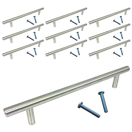 (10 Pack, L: 8 Inches CC: 6 Inches) Swiss Kelly Satin Nickel Kitchen Cabinet Pull Drawer Handle Knob