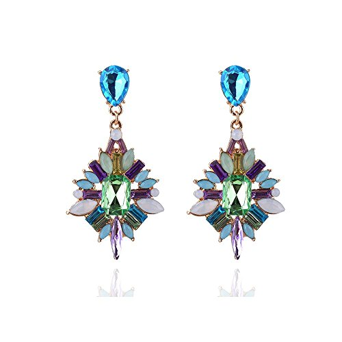 (Women's Special Occasion Floral Flower Statement Crystal Cross Earrings (Green))