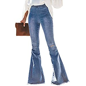 Sidefeel Women Destoryed Flare Jeans Elastic Waist Bell Bottom Raw Hem Denim Pants