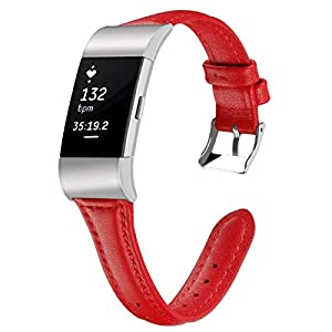 Leather Watch Band for Fitbit Charge 2 Replacement Fitbit Charge 2 Watch Strap for Women Men 12 Colors&Size L/S