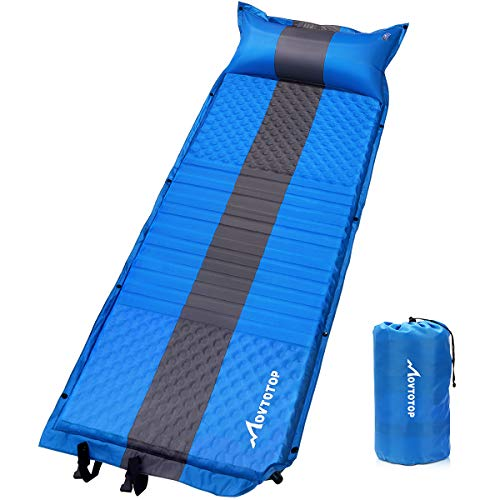 (MOVTOTOP Self Inflating Sleeping Pad (77.2×26.8×1.2 inches), Comfortable Foam Camping Mat with Pillow Light Weight Camping Air Mattress for Hiking Backpacking Indoor Party)