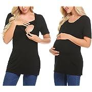 Ekouaer Womens Short Sleeve Soft-Touch Rayon Blend Layer Front Nursing & Maternity Fashion Top Black L