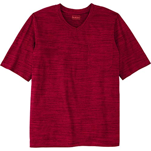 Boulder Creek Men's Big & Tall Heavyweight Pocket V-Neck Tee, Rich Burgundy Marl Tall-2XL ()