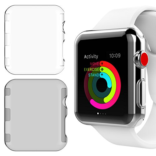 New Watch Design ([2 Pack] Apple Watch 42mm Series 3 Case, NSR New Design Slim PC Hard Screen Protector Cover Case for iWatch Series 3 42mm 2017 Release - Clear/Gray)
