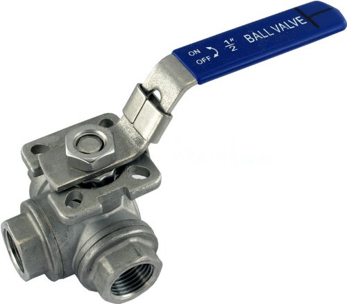Seal Tight Ball Valve (Duda Energy 3WBV-WOG200-F050-L L-Type Ball Valve, 304 Stainless Steel, 3-Way, SS304 SUS304 1/2