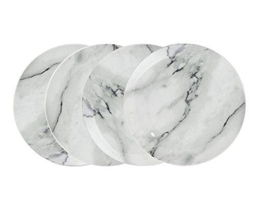 - Godinger Porcelain Bread Dessert Plates Dining Dinnerware Natural Marble Design Set of 4