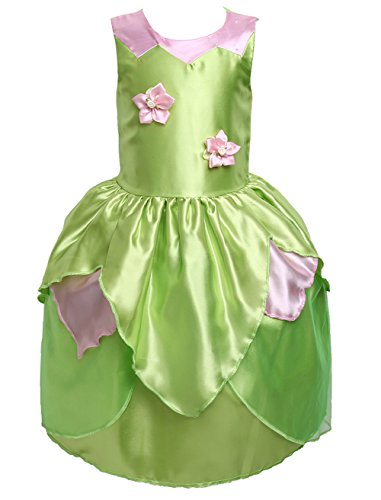 Zoe's wardrobe Princess Girl Flower Fairy Green Princess Dress Up Party Costume for 3-10T (7-8T) ()
