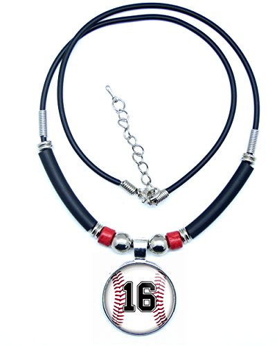 SpotlightJewels Baseball Number Necklace Baseball Jersey Number Necklace- Custom Baseball Player Jersey ID- Available in 41 Numbers (16)