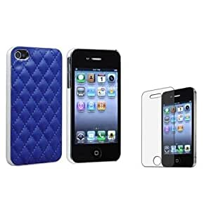 Quaroth Everydaysource Blue Leather w/ Silver Side Hard Case+MATTE LCD Protector Compatible With iPhone 4 4G Gen 4S