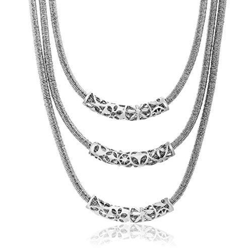 WILLOWBIRD Triple Layered Curved Bar Tribal Necklace for Women in Rhodium Plated Brass (White)