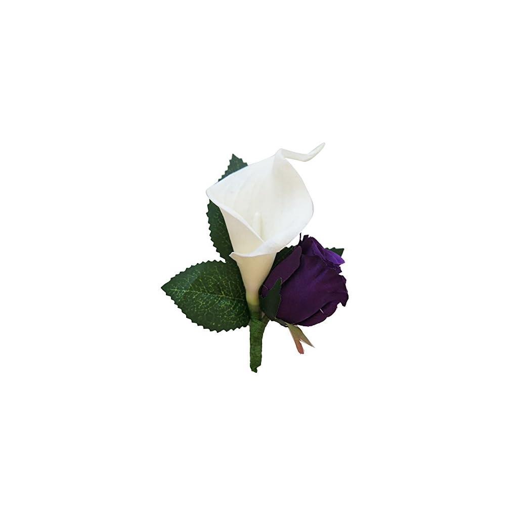 Angel Isabella Cascade Bouquet and Boutonniere – Purple Lavender White Artificial Flower Arrangement