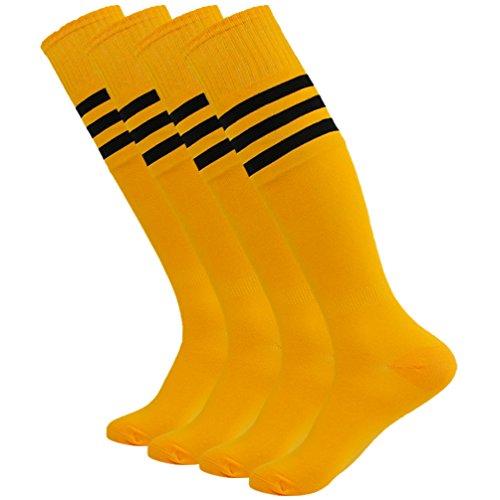 Long Tube Socks, Getspor Christmas Costume Unisex Teens Solid Over Calf Team Athletic Performance Socks for Soccer Baseball Ginger Orange 4 Pairs