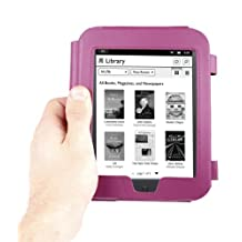 """DURAGADGET Purple Genuine Second Class Leather """"Book"""" Style Cover Case With Magnetic Clasp The New Nook Simple Touch GlowLight (October 2012)"""