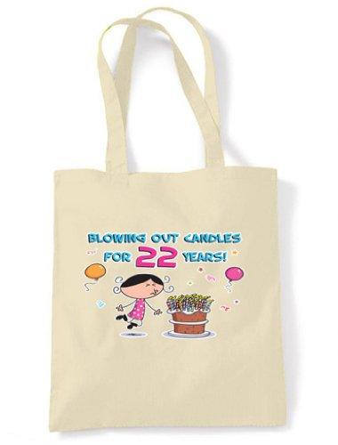 22 Hombro Años 22 Mano De De Velas Crema Soplando Cumpleaños Bolsa algodón De Crudo Las ZFUWRqHnwp