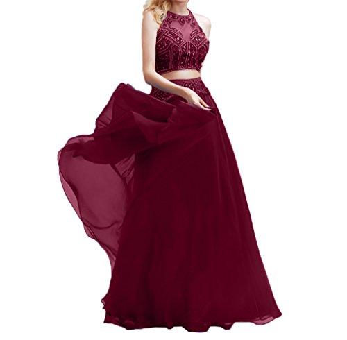 Abendkleider Chiffon Weinrot Perlen Lang Charmant Zwei Partykleider Damen teilig Fesltichkleider Abschlussballkleider g4wPXnqZ