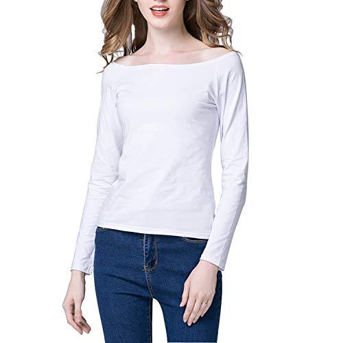 Tulucky Women Long Sleeve Casual Tee Shirts Bateau-Neck Top (White, - Neck Drape Sleeve Long