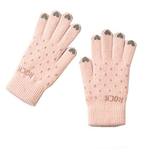 手袋 ニット手袋 レディース 5本指 グローブ キュート おしゃれ 可愛い 暖かい 防寒 シンプル 秋冬 フリーサイズ プレゼント Monissy