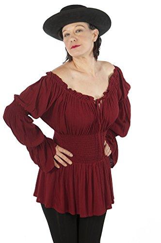 Dress Like A Pirate Romantic Medieval Renaissance Wench Princess Blouse (O/S, Wine)