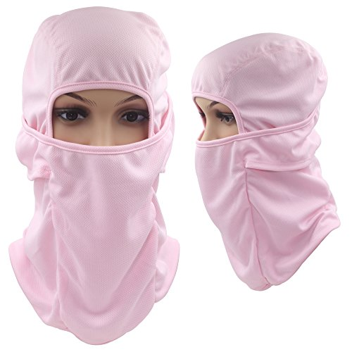Heavyweight Tactical Hood (Tactical Balaclava Hood, Skiing Face Mask, Breathable / Lightweight / Cold Weather / Multi Purpose / Winter Motorcycle Bike Bicycle Helmet Cycling Mask for Kids Women Ladies Men by Dseap, Pink)
