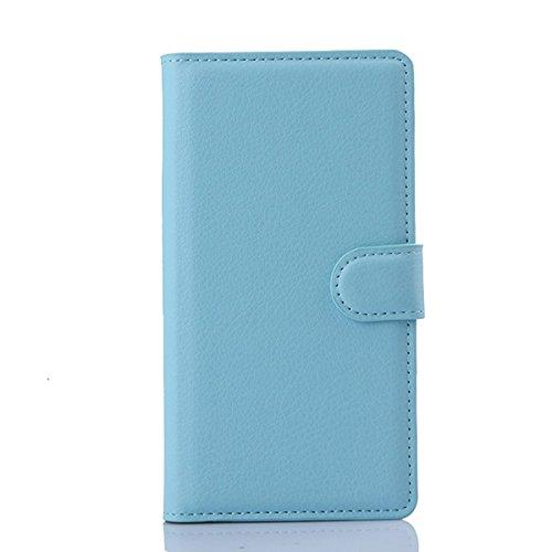 JUSUN Sony Xperia M4 Aqua case, Customized Leather Folio Stand Protective Wallet Case Cover For Sony Xperia M4 Aqua (Blue)