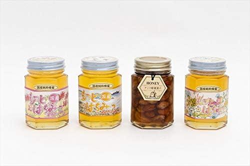 【国産純粋ハチミツ・養蜂園直送】れんげ蜂蜜 みかん蜂蜜 百花蜂蜜 各180g ナッツ蜂蜜漬 160g