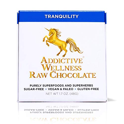 Addictive Wellness Sugar-Free Raw TRANQUILITY Chocolate 12 PACK Vegan & Paleo - Purely Superfoods and Superherbs