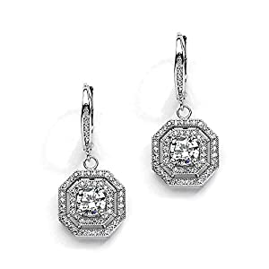 Mariell Art Deco Vintage Cubic Zirconia Dangle Wedding Earrings with Antique Pave Octagon Halo Drops