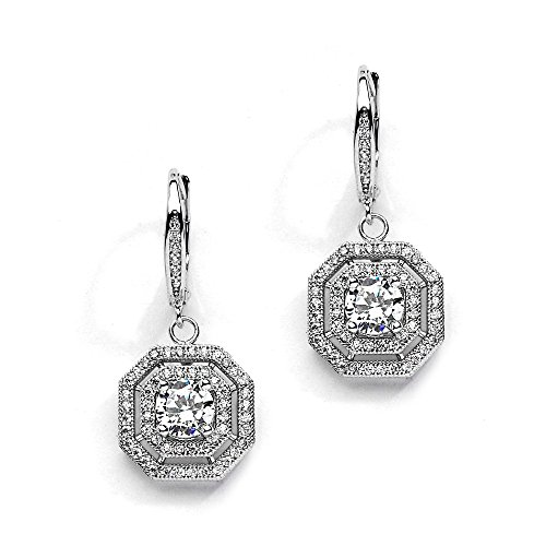 Pave Vintage Earrings (Mariell Art Deco Vintage Wedding CZ Dangle Bridal Earrings with Pave Octagon Drops)