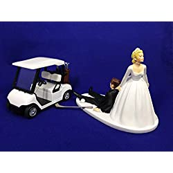 Bride and Groom Golf Wedding Cake Topper - Funny Golf Wedding Cake Topper - Golf Loving Groom Being Dragged By Bride - Perfect Cake Topper for Golfers - Groom's Cake Topper - Rehearsal Dinner Cake Topper
