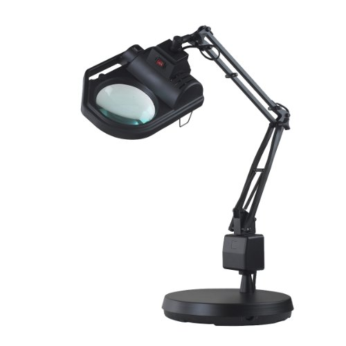 Electrix 7428 BLACK Magnifier Lamp, Halogen, 3-Diopter, Weighted Base Mounting, 45