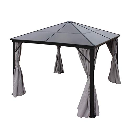 Bali Outdoor 10 x 10 Foot Black Rust Proof Aluminum Framed Hardtop Gazebo with Grey Curtains