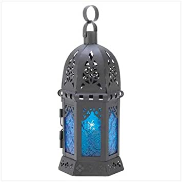 10 black lantern with blue glass wedding centerpieces amazon 10 black lantern with blue glass wedding centerpieces junglespirit Images
