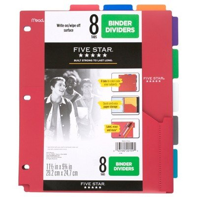 Five Star 8-Tab Binder Dividers with Pocket Multicolor Multi-Colored ()
