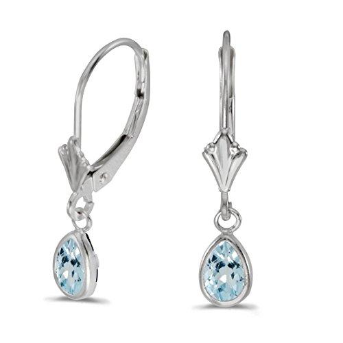 14K White Gold Pear Aquamarine Bezel Lever-back Earrings