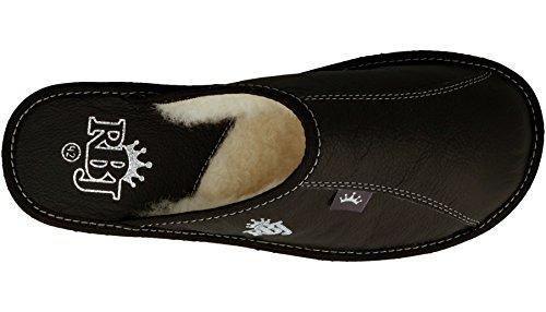 Cuero Lana Oveja Negro de para De Lujo Regalo Hombre Caja De De Casa lana Zapatillas en De De Opcional Natural xqAw0zU