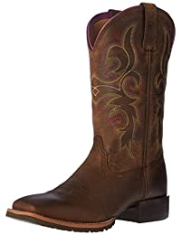 Ariat Women's Hybrid Rancher Western Cowboy Boot, Distressed Brown/Hot Leaf, 6.5 B US