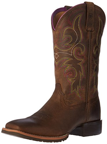 Ariat Women's Hybrid Rancher Western Cowboy Boot, Distressed Brown/Hot Leaf, 6.5 B US