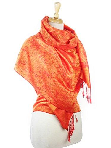 Paskmlna Paisley Jacquard Pashmina Shawl Wrap Scarf Stole (Orange Wrap)