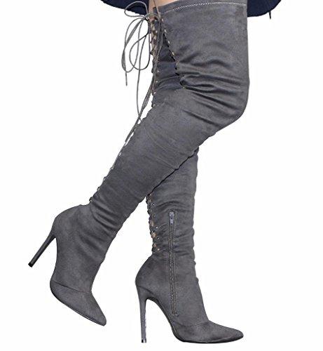 Camssoo Moda Donna Punta A Punta Posteriore Cravatta Stringata In Alto Sopra Il Ginocchio Tacco A Spillo Stivali Di Velluto Grigio Scuro