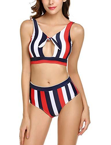 ADOME Womens Classic Stripe 2PCS Bikini Sets Beachwear Red L