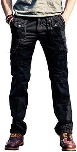 100% Cotton Wild Cargo Pants for Mens Relaxed-fit Casual Pants Trousers with Phone Pocket by FlyHawk