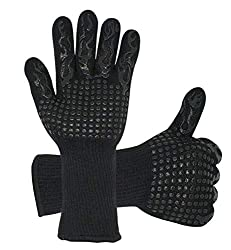 Jianxin Food Grade Kitchen Oven Mitts 1472℉ Extreme Heat Resistant Bbq Gloves Silicone Non Slip Cooking Hot Glove For Grilling Welding Cutting Baking 1 Pair Black