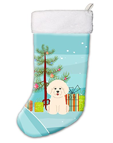 Stocking Bichon Christmas (Caroline's Treasures BB4200CS Merry Christmas Tree Bichon Frise Stocking,Multicolor,Large)