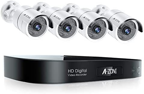 [8CH Expandable] A-ZONE 1080P Wired Security Camera System, 5MP-Lite DVR 4pcs Outdoor CCTV Cameras, HM.265 Home Camera Security System, Weatherproof, Night Vision, Motion Alert, No Hard Drive