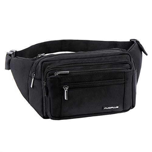 AUOPLUS Multiple Zipper Pocket Waist Fanny Pack, Travel Hip Belt Bag with Adjustable Strap for Cycling Hiking Workout (Black) - Saddle Travel Zip Wallet