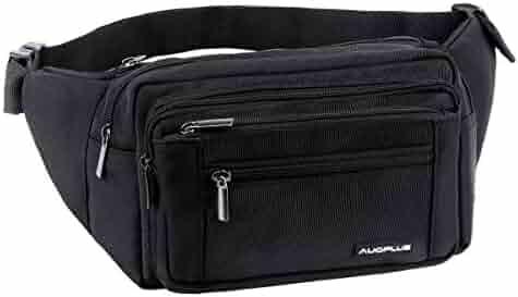 Multi Pocket Zipper Waist Fanny Pack, Travel Bum Bag Hip Belt for Hiking Workout